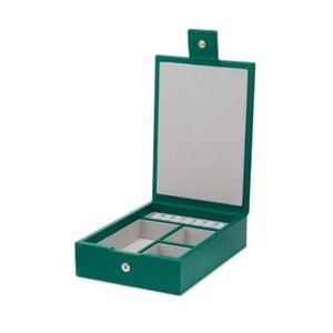 SMYTHSON  MARA CROC-EFFECT LEATHER JEWELRY BOX IN GREEN